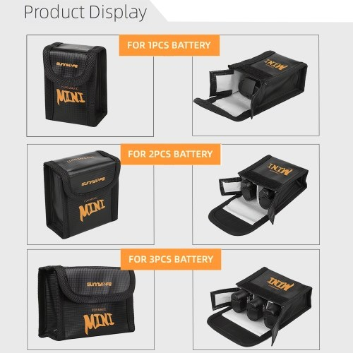 Outdoor Portable LiPo Battery Explosion-proof Safety Storage Bag Compatible with 3PCS DJI Mavic Mini Drone Quadcopter Battery Image