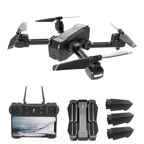 KF607 Câmera 1080P 2.4G Wifi GPS RC Drone Ponto de interesse de vôo Ponto de interesse Siga-me gesto Fotos Vídeo (3 bateria e bolsa)