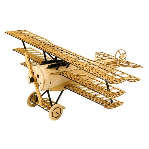 DWH VX11 1:18 Scale 400mm Wingspan Airplane 3D Wooden Puzzles Airplane DIY Fokker-DR1 Triplane Model Kit with Wooden Box