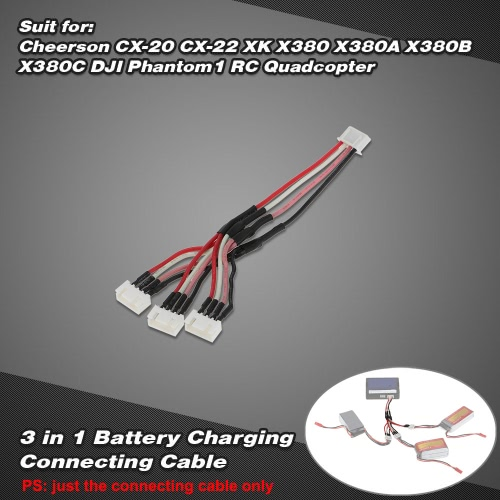 3 in 1 Battery Charging Connecting 11.1V 3S Cable for Cheerson CX-20 CX-22 XK X380 X380A X380B X380C DJI Phantom1 RC Quadcopter