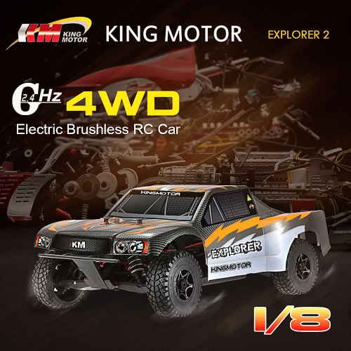 Original KINGMOTOR EXPLORER 2 1/8 RC Car 4WD Electric Brushless High Speed Racing RTR Short Course & 2.4G 3CH Transmitter