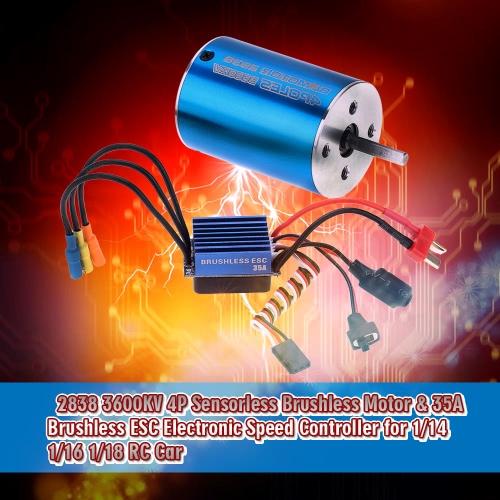 2838 3600KV 4P Sensorless Brushless Motor & 35A Brushless ESC Electronic Speed Controller for 1/14 1/16 1/18 RC Car RM5203