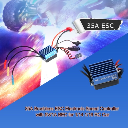 35A Brushless ESC Electronic Speed Controller with 5V/1A BEC for 1/14 1/16 RC Car