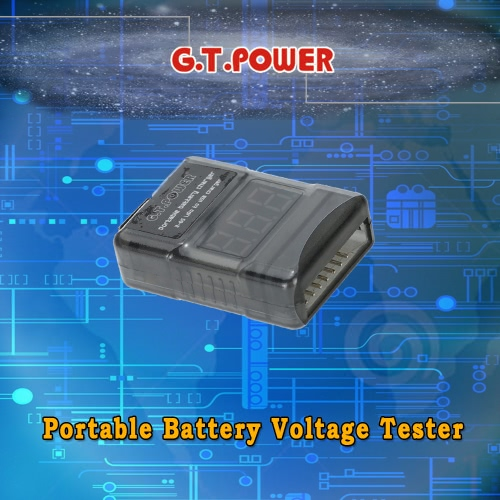 G.T.POWER Portable 2-6S LiPo Battery Voltage Tester with USB Charger Port