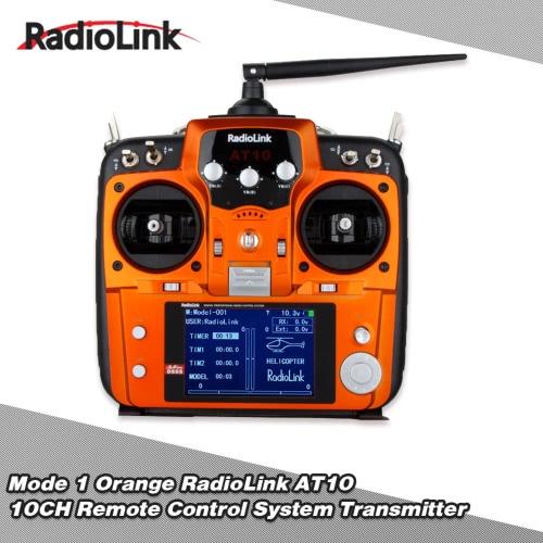 Original Mode 1 Orange RadioLink AT10 2.4G 10CH Remote Control System Transmitter w/ R10D Receiver & PRM-01 Voltage Return Module