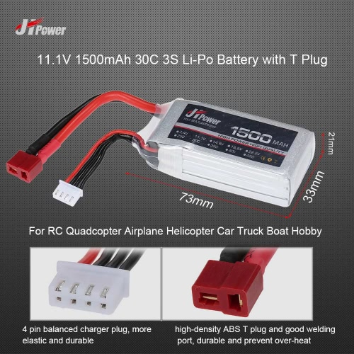 JHpower 11.1V 1500mAh 30C 3S Li-Po Battery with T Plug for RC Drone Airplane Car Truck