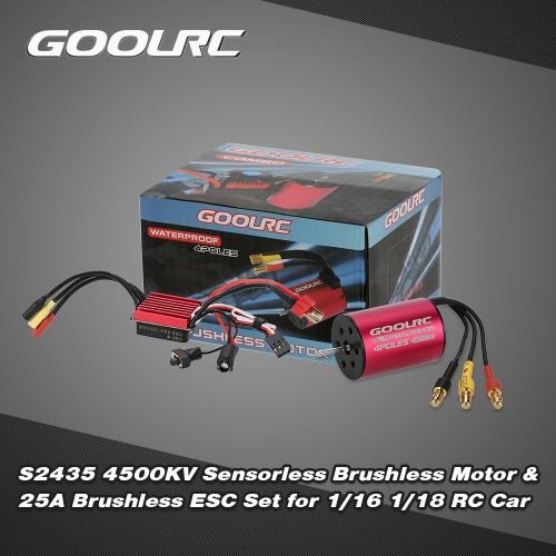 Original GoolRC S2435 4500KV Sensorless Brushless Motor and 25A Brushless ESC Combo Set for 1/16 1/18 RC Car Truck