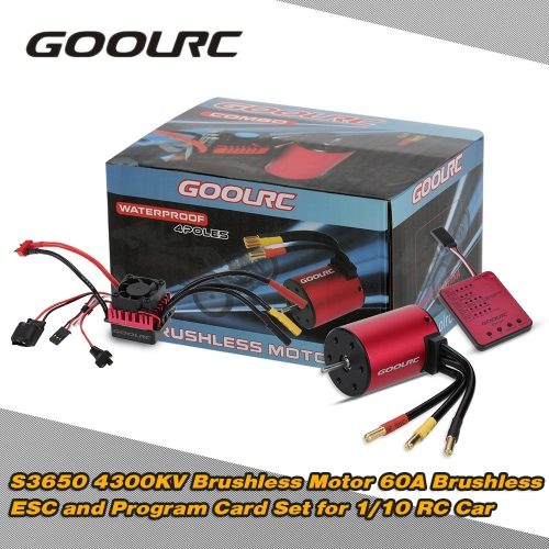 GoolRC S3650 4300KV Sensorless Brushless Motor 60A Brushless ESC and Program Card Combo Set for 1/10 RC Car Truck
