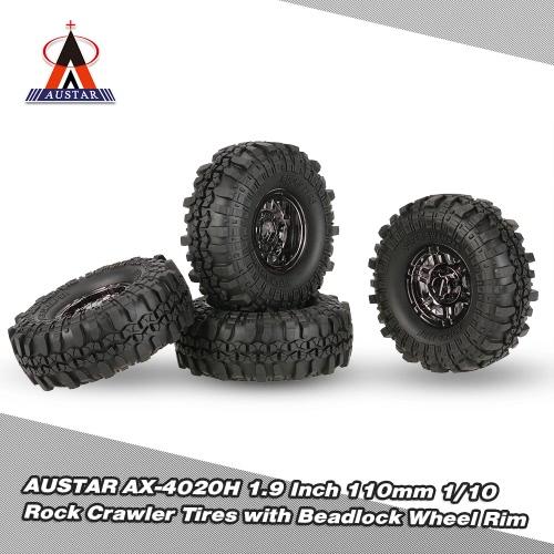 4本AUSTAR AX-4020H D90 SCX10 AXIAL RC4WD TF2 RCカー用メッキビードロックホイールリムと1.9インチの110ミリメートル1/10ロッククローラータイヤ