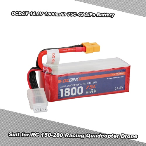 OCDAY 14.8V 1800mAh 75C 4S High Discharge LiPo Battery with XT60 Plug for RC 150-280 Racing Quadcopter QAV180 QAV250 ZMR250 Drone