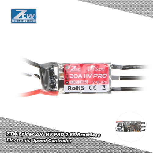 Original ZTW Spider PRO 20A HV OPTO 2-6S LiPo Battery Brushless ESC Electronic Speed Controller with Blheli Firmware for F450 F550 RC Drone Muticopter