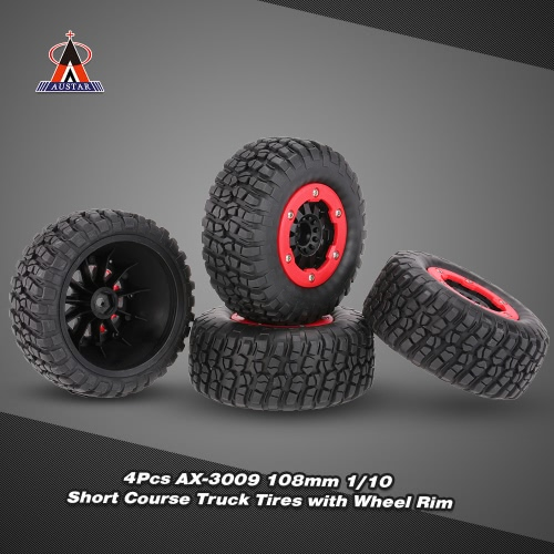 4Pcs AUSTAR AX-3009 High Performance 108mm 1/10 Short Course Truck Tires with Wheel Rim for All Terrain
