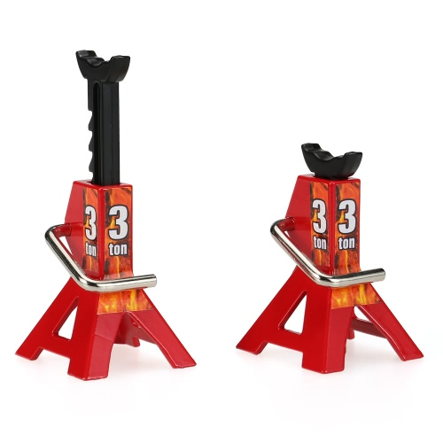 2 Pcs 3 TON Scale Adjustable Height Metal Jack Stand Repairing Tool for 1/10 Suitable for 1/10 RC4WD D90 SCX10 Rock Crawler RC Car