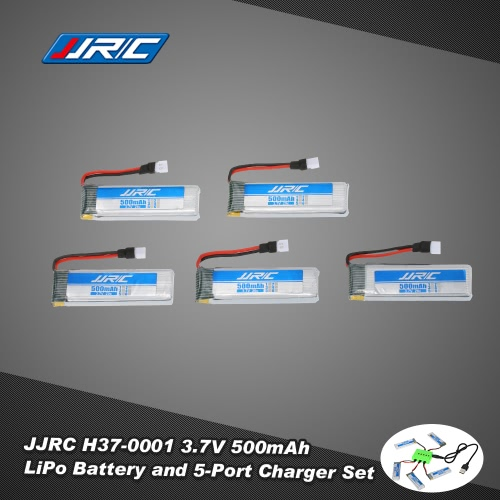 5Pcs Original JJR/C H37-0001 3.7V 500mAh 20C LiPo Battery and 5-Port Charger Set for JJR/C H37 GoolRC T37 E50 Selfie Drone RC Quadcopter