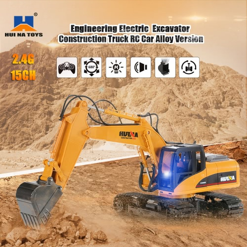 HUI NA TOYS 2.4GHz 15CH Engineering Electric Excavator Construction Truck RC Car Alloy Version