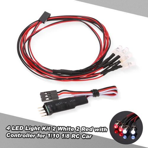 4 LEDライト1/10 1/8 TRAXXAS HSP REDCAT RC4WDタミヤアキシャルSCX10 D90 HPI RCカーのために点滅ヘッドライトテールライトスイッチコントローラとキット2・ホワイト2レッド