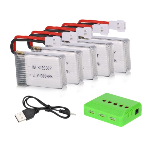 5pcs 3.7V 300mAh Li-po Battery with 5 in 1 Battery Charger for FQ777 FQ17W RC FPV Drone GoolRC T15 Quadcopter