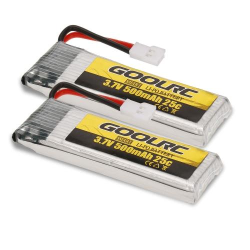 GoolRC T37 JJR / C H37 RCドローンクアドコプター用2pcsオリジナルGoolRC 3.7V 500mAh 25C LiPoバッテリー