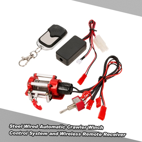 1/10 RC Rock Crawler Steel Wired Automatic Crawler Winch Control System and Wireless Remote Receiver for Traxxas HSP Redcat HPI TAMIYA CC01 Axial SCX10 RC4WD D90 RC Rock Crawler