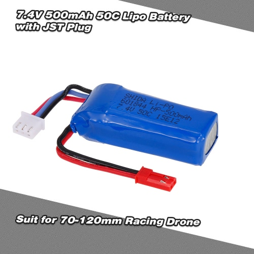 7.4V 500mAh 50C Lipo Battery with JST Plug for EMAX Babyhawk Armor 67 XF90 Quadcopter 70-120mm Racing Drone