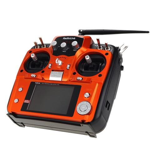 Original Mode 2 Orange RadioLink AT10 2.4G 10CH Transmisor de Sistema de Control Remoto con Receptor R12DS y Módulo de Retorno de Voltaje PRM-01