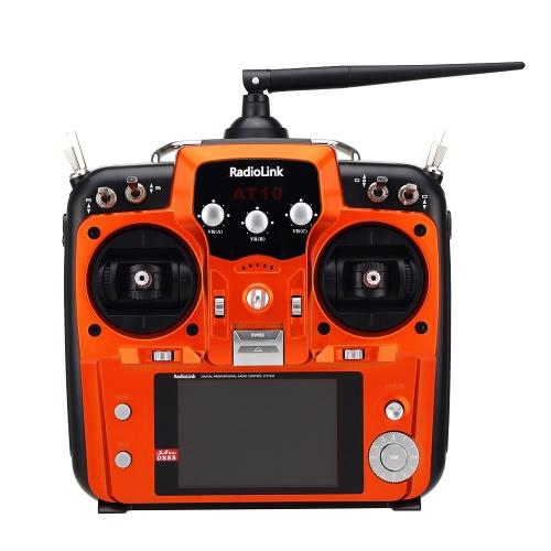 Original Mode 2 Orange RadioLink AT10 2.4G 10CH Remote Control System Transmitter w/ R12DS Receiver & PRM-01 Voltage Return Module