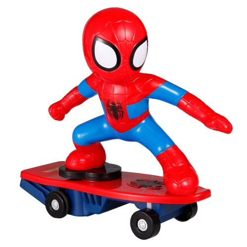 子供のための2.4G 2CHリモートコントロールスーパーヒーロースパイダーマンRCスケートボードアンチローリングミュージックおもちゃ