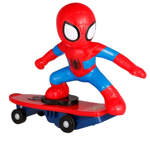 2.4G 2CH Remote Control Super Heroes Spiderman RC Skateboard Anti Rolling Music Toy for Kids