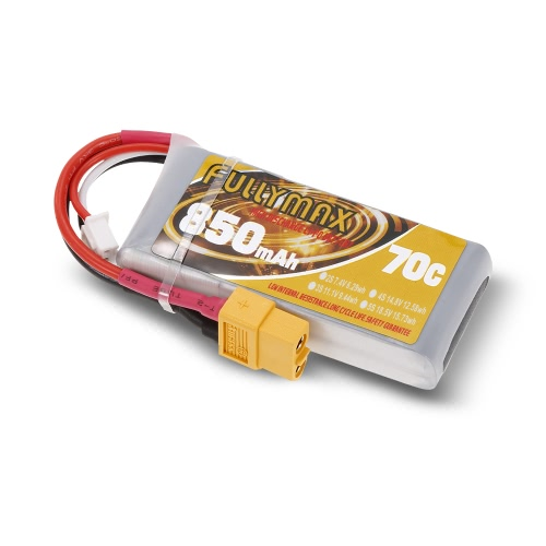 FULLYMAX 2S 7.4V 850mAh 70C High Rate XT60 Wtyczka LiPo Bateria do 130 FPV Quadcopter Wyścigi RC Car Boat