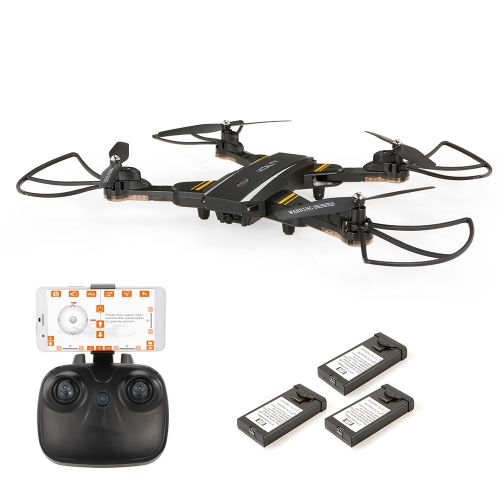 TKKJ TK116W 720P Camera Wifi FPV Foldable Drone Altitude Hold One Key Return G-sensor Selfie Quadcopter with Two Extra Battery