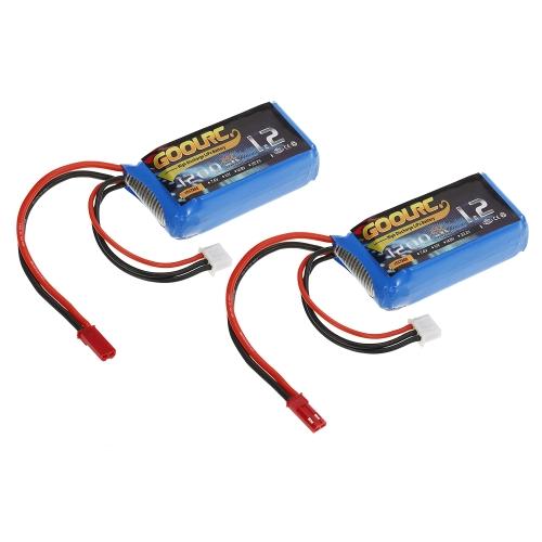 2pcs GoolRC 7.4V 1200mAh 25C JST Stecker LiPo Batterie
