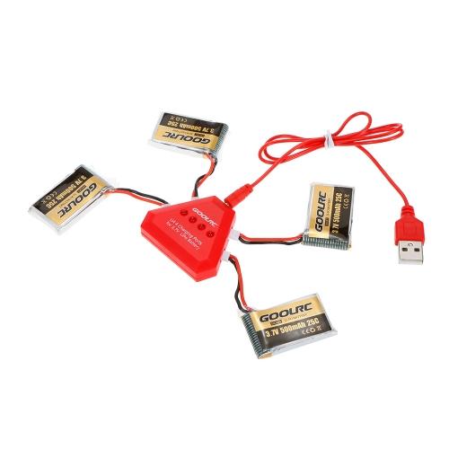 4 pezzi GoolRC 500mAh 3.7V 25C LiPo batteria con 4 in 1 caricatore USB per Syma X5 X5SW X5C X5C-1 RC Quadcopter