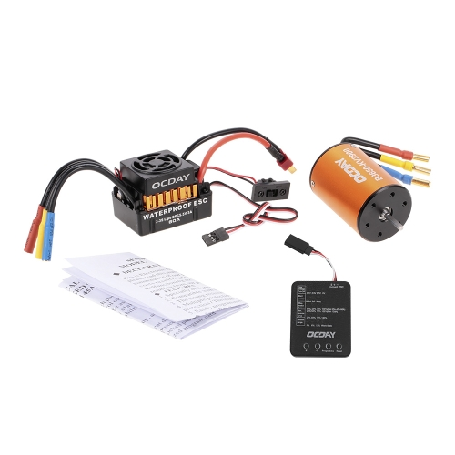 OCDAY Waterproof 60A Brushless Car Electronic Speed Control ESC + B3650 3900KV 4P Sensorless Brushless Motor + Programming Board