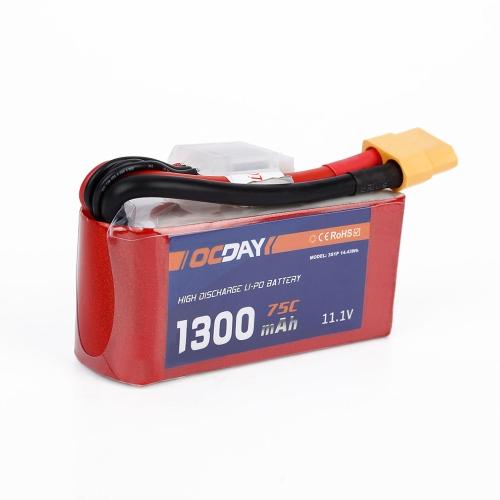 OCDAY 3S 11.1V 1300mAh 75C Batería de LiPo de alta velocidad XT60 para QAV180 220 RC FPV Racing Quadcopter Drone