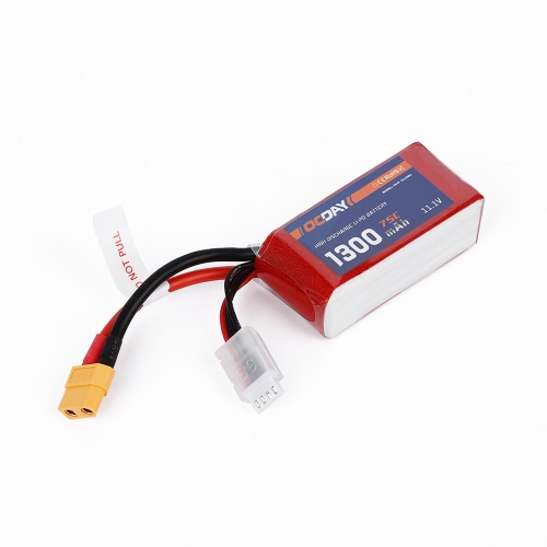 OCDAY 3S 11.1V 1300mAh 75C High Rate LiPo Battery XT60 for QAV180 220 RC FPV Racing Quadcopter Drone