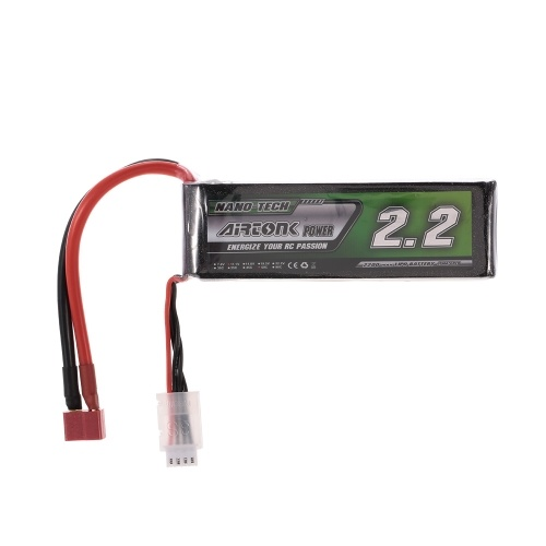 11.1V 2200mAh 60C 3S Rechargeable Li-Po Battery with T Plug for RC Racing Drone Quadcopter Helicopter Airplane Car Truck