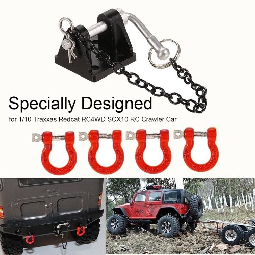 1 Set Tow D-Ring Shackles Trailer Hook Trailer Lock for 1/10 Traxxas HSP Redcat RC4WD Tamiya Axial SCX10 D90 HPI RC Crawler Car