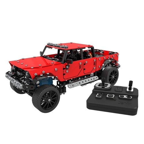 SW 1/16 Stainless Steel 2CH Remote Control DIY Assembling Pickup Truck RC Car for Kids