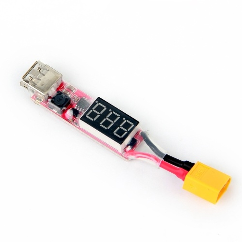 2S-6S Lipo Comprobador de voltaje de la batería Prueba XT60 Enchufe al adaptador de cargador de adaptador de corriente USB con pantalla LCD