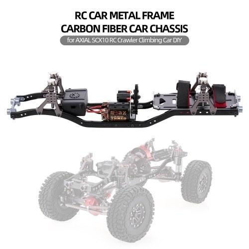 RC Marco de coche de fibra de carbono de metal viga del chasis del coche con 540 Motor para AXIAL SCX10 RC Crawler coche de escalada DIY