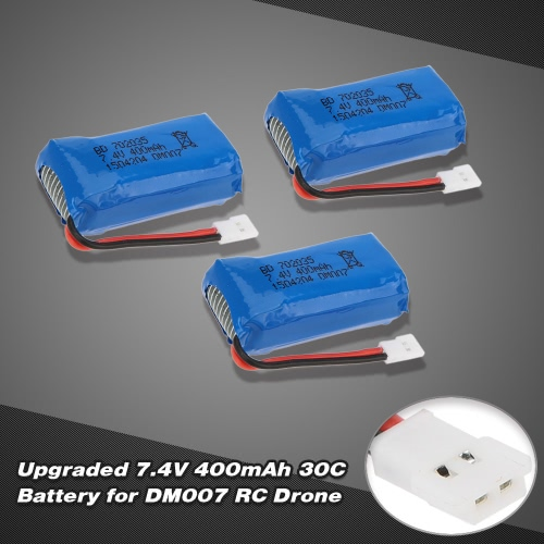 3Pcs RC Part Upgraded 7.4V 400mAh 30C Lipo Battery for DM007 RC Quadcopter