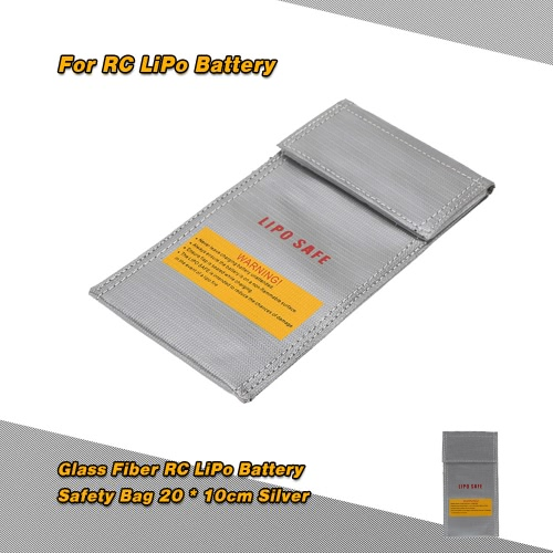 20 * 10cm Silver High Quality Glass Fiber RC LiPo Battery Safety Bag Safe Guard Charge Sack