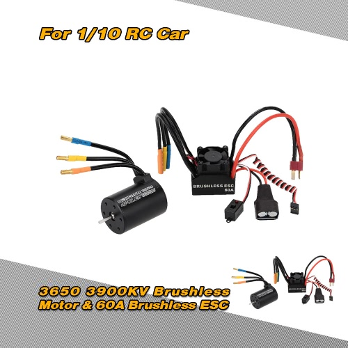 3650 3900KV 4P Sensorless Brushless Motor & 60A Brushless Splash-Proof Electronic Speed Controller ESC with 5.8V/3A Switch Mode BEC for 1/10 RC Car