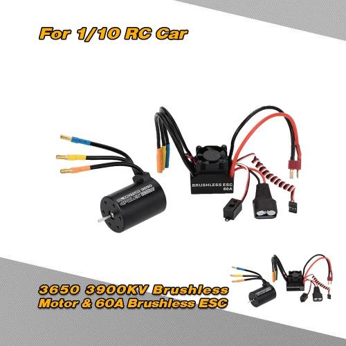 3650 3900KV 4P センサレス ブラシレスモーター & 60A ブラシレス防滴電子スピードコントローラ ESC 5.8V/3A スイッチモード BEC 1/10 RC車用