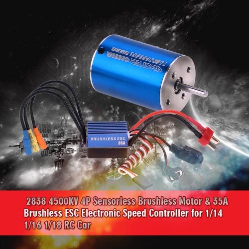 2838 4500KV 4P Sensorless Brushless Motor & 35A Brushless ESC Electronic Speed Controller for 1/14 1/16 1/18 RC Car RM5204