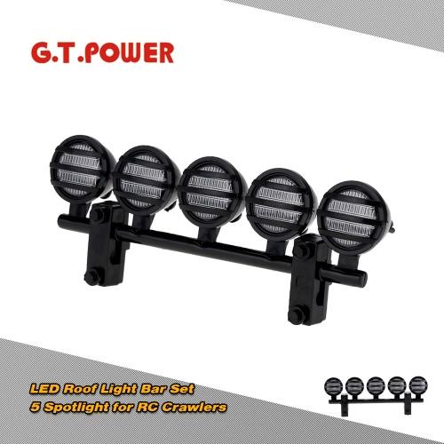 GTPOWER LED światło bar na dachu Zestaw 5 Reflektor do 1/10 RC Crawlers