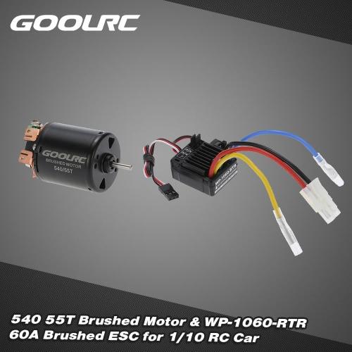 GoolRC 540 55t 級 4 極ブラシをかけられたモーターおよび WP-1060年-RTR 60A 防水 1/10 RC カー用の 5 v/2 a BEC esc キー電子スピード コント ローラーのブラシ