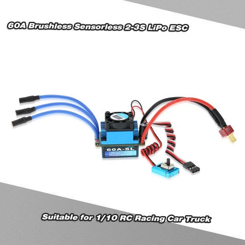 60A Brushless Sensorless 2-3S LiPo ESC Electric Speed Controller for 1/10 RC Racing Car Truck with T Plug