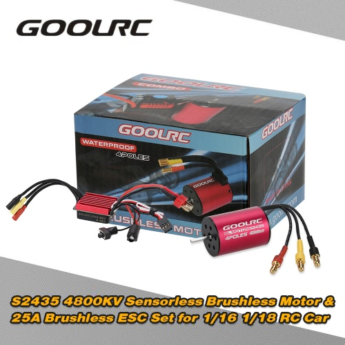 Original GoolRC S2435 4800KV Sensorless Brushless Motor and 25A Brushless ESC Combo Set for 1/16 1/18 RC Car Truck