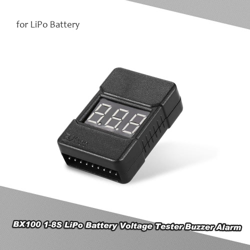 BX100 1-8S LiPo Batteriespannung Tester Low-Voltage-Summer-Warnung mit LED-Anzeige